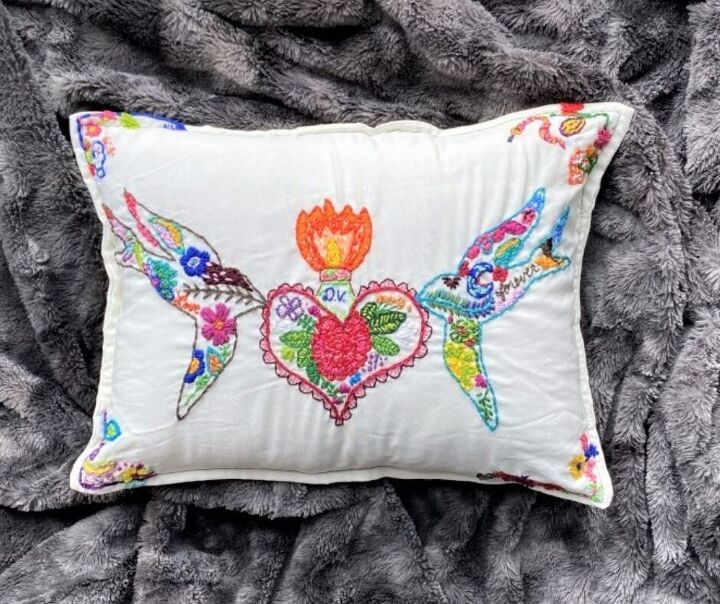 embroidered memory pillow