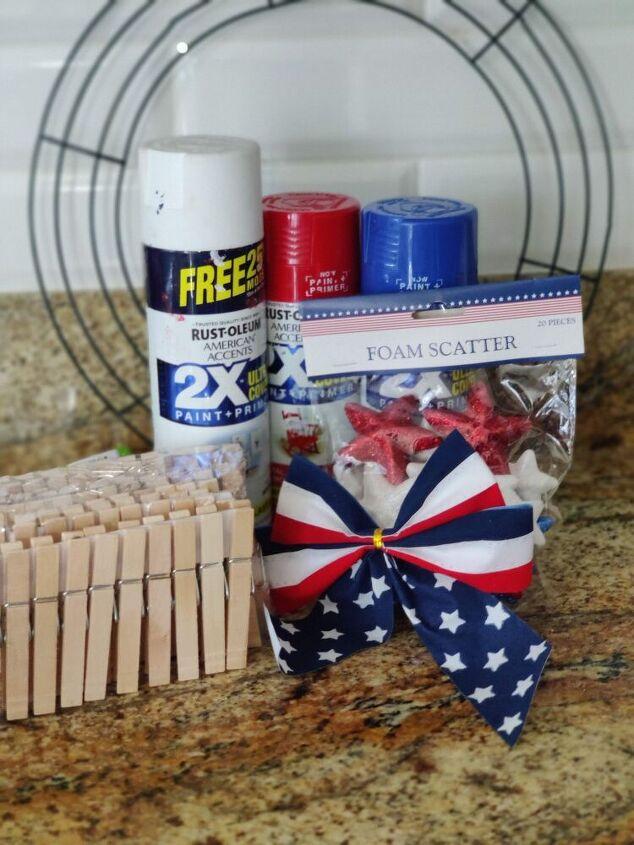 patriotic clothespin wreath, Materials used