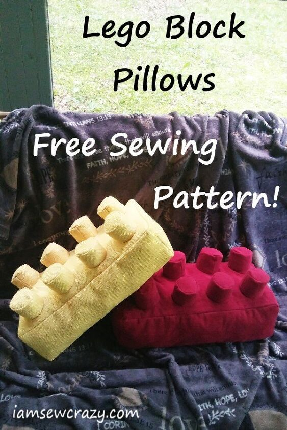 lego brick pillows with free printable pdf sewing pattern