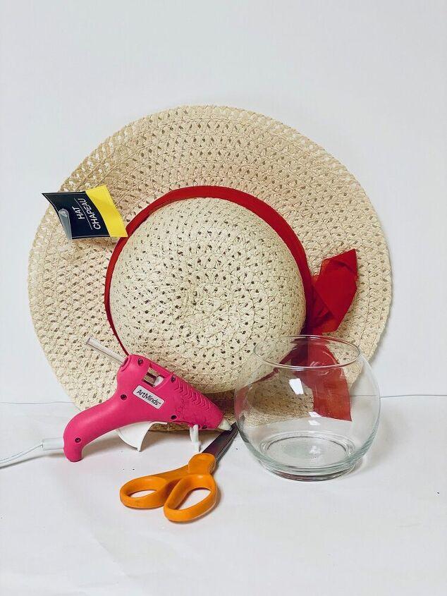 easy diy sun hat wicker vase