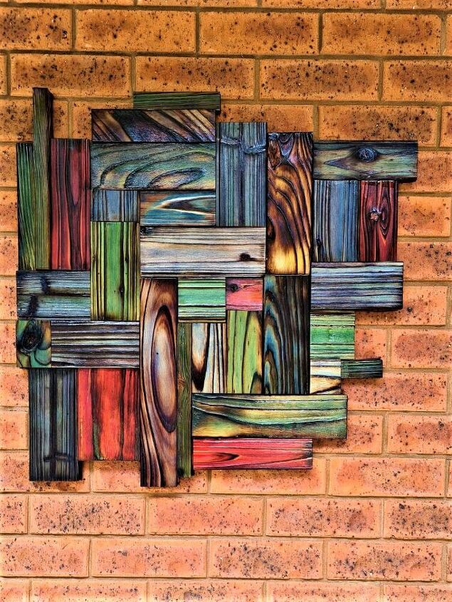 multi coloured wood wall hanging