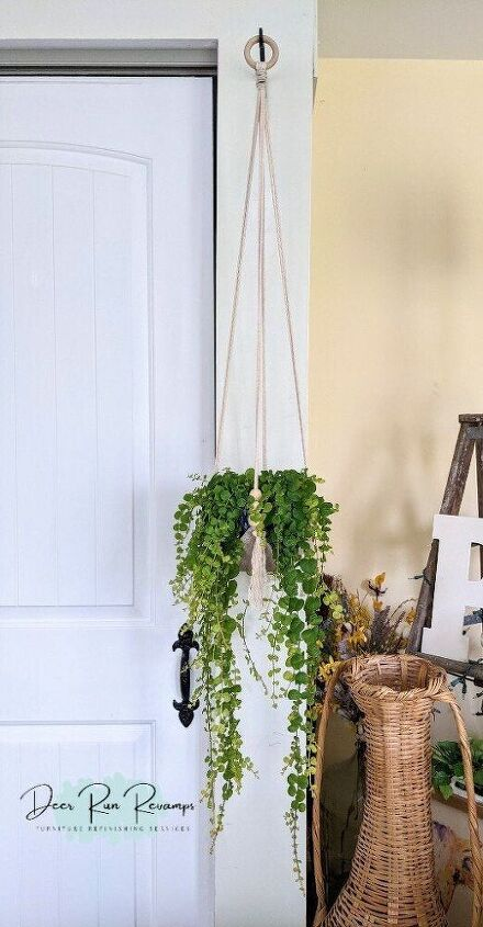 leather and cotton macrame plant hanger