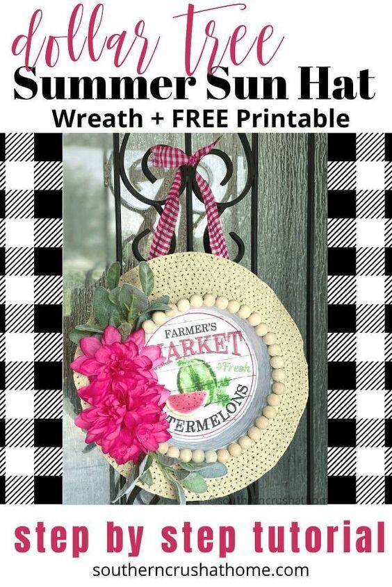 dollar tree summer sun hat wreath free printable