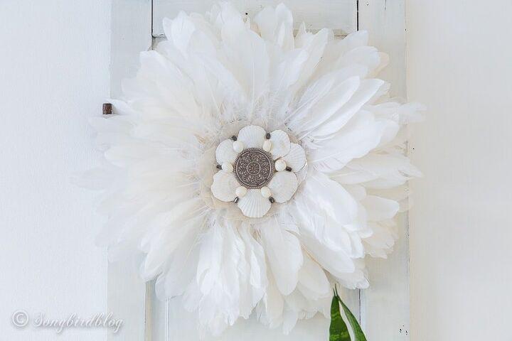 how to make a boho feather and seashells wall decoration