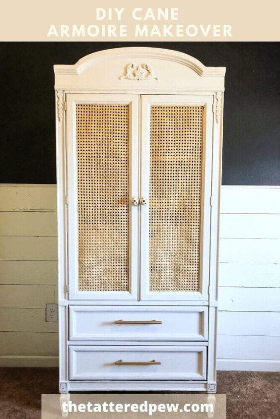 diy cane armoire makeover