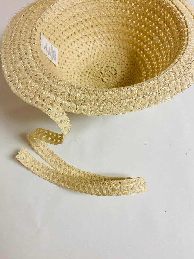 diy wicker basket from a straw hat
