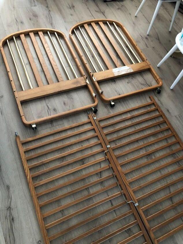 upcycled crib into bathroom vanity