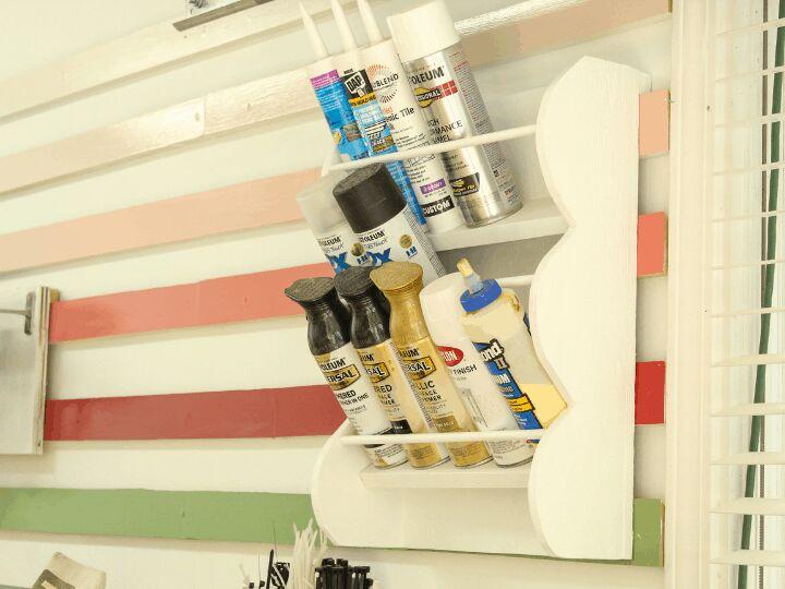 scalloped spray paint storage rack