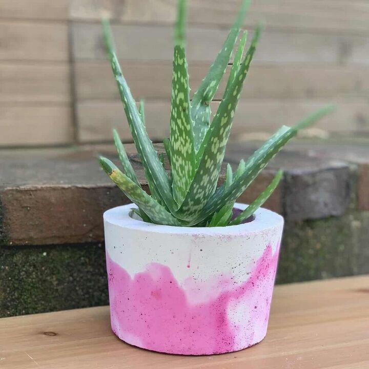 vibrant dyed concrete planter diy