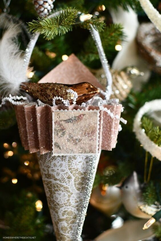 how to make easy scrapbook paper christmas tree ornament cones