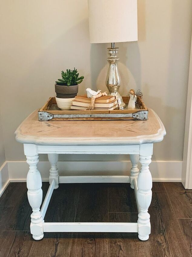 end table makeover with milk paint and stain