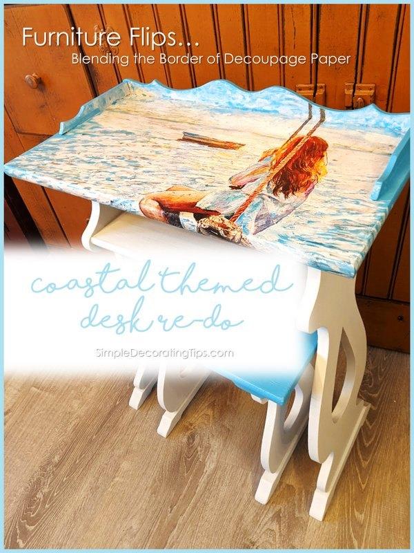 coastal theme desk re do