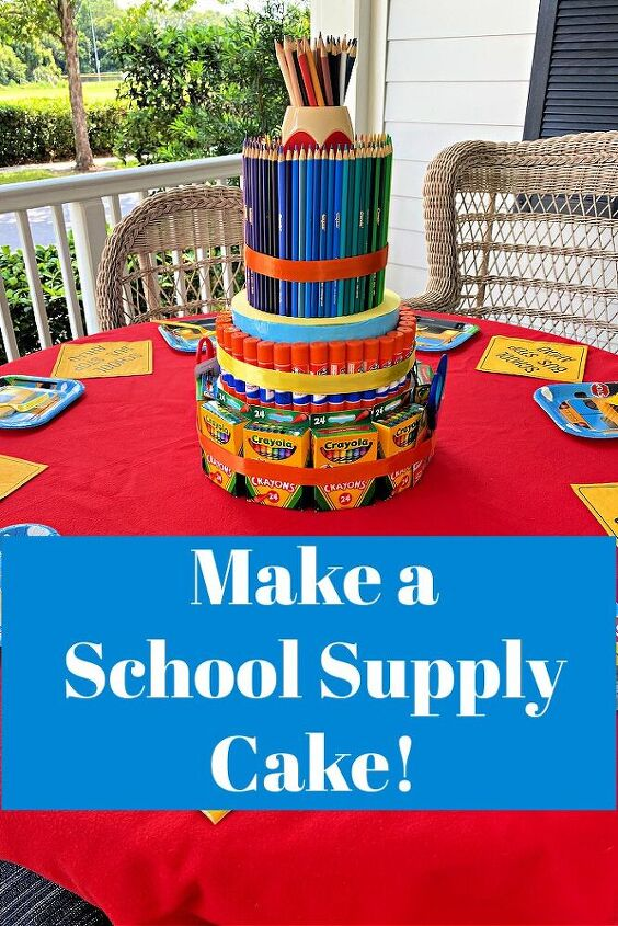 , Make a school supply cake to gift to your favorite teacher after a difficult year and bring a smile to their face as they welcome children back for the coming school year