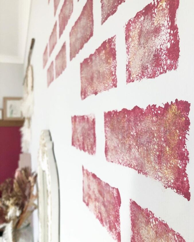 faux pink gold brick feature wall