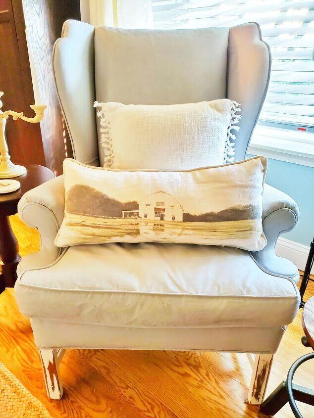 how to paint a fabric chair with chalk paint, After photo of painted fabric chair
