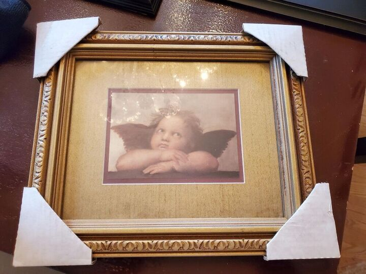 learn how to makeover a frame from goodwill, Before photo of Goodwill frame