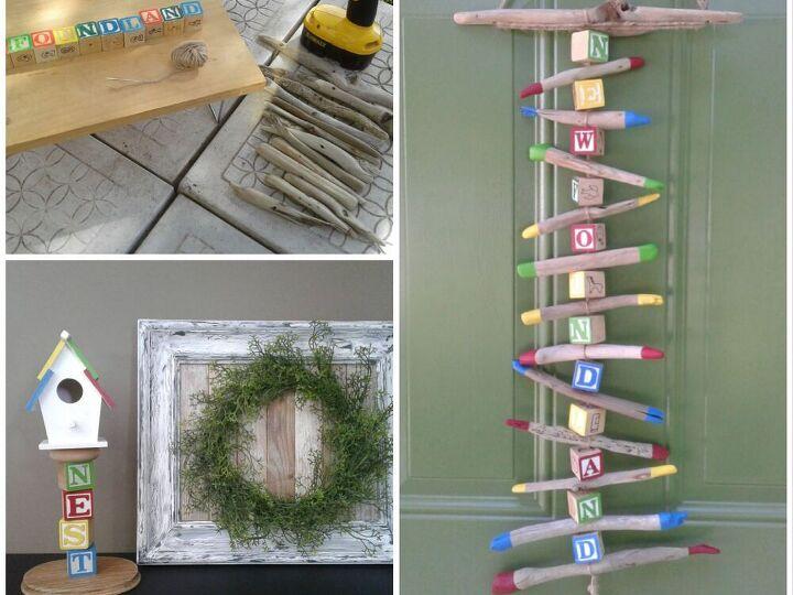 how i turned alphabet blocks and driftwood into garden decor, Alphabet Mobile and Birdhouse