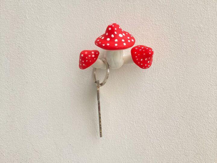 mushroom wall hook airdry clay craft