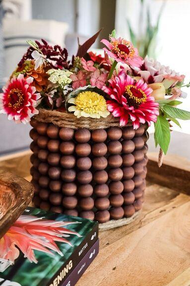 Wood Bead Vase