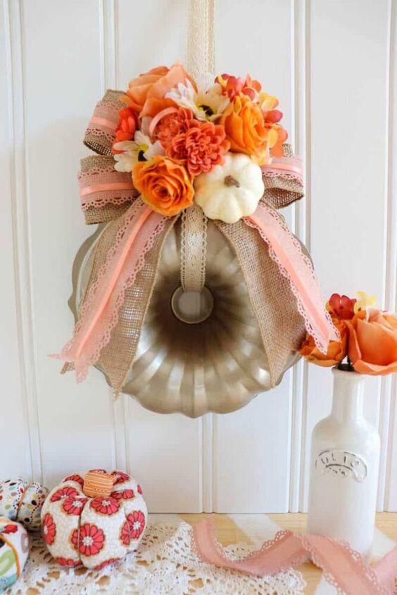 how to make a bundt pan pumpkin wreath