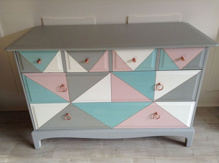 s 18 stylish ideas that ll perk up a bland bedroom, Her gorgeous geometric patterned dresser