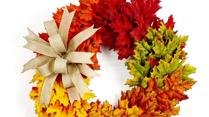 s if you steal one gorgeous fall wreath idea this year make it this one, Use multi colored maple leaves for an ombre look