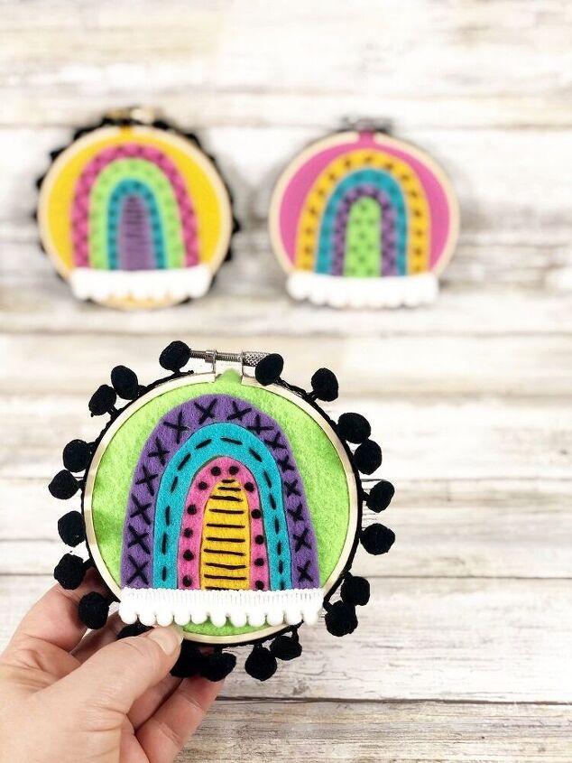 boho rainbow embroidery hoop with kunin felt