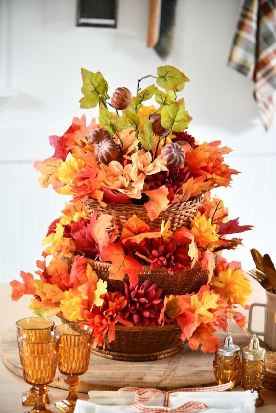 how to make a vintage tiered basket centerpiece