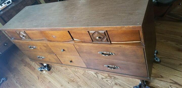 mid century moder dresser make over, Before