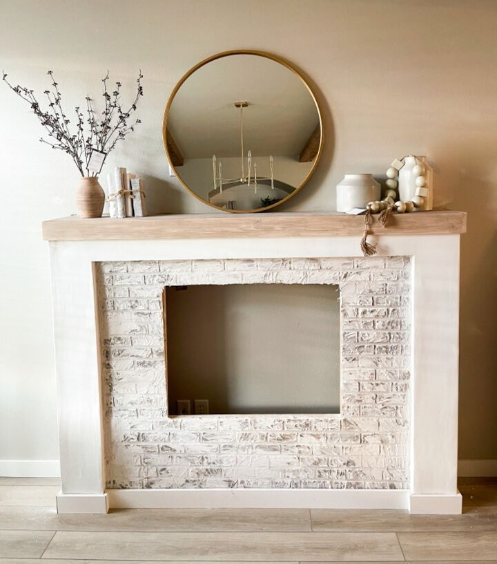 s 15 ways to update the fireplace you can t stand to look at anymore, Create joint compound faux bricks