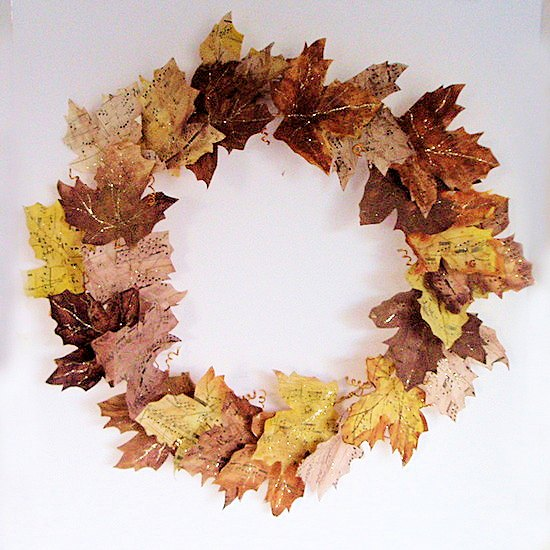 s the 20 best leaf decor idea to try this fall, A stunning sheet music wreath