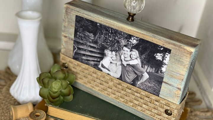 s 15 amazing ways to display your family photos, Rustic Photo Block