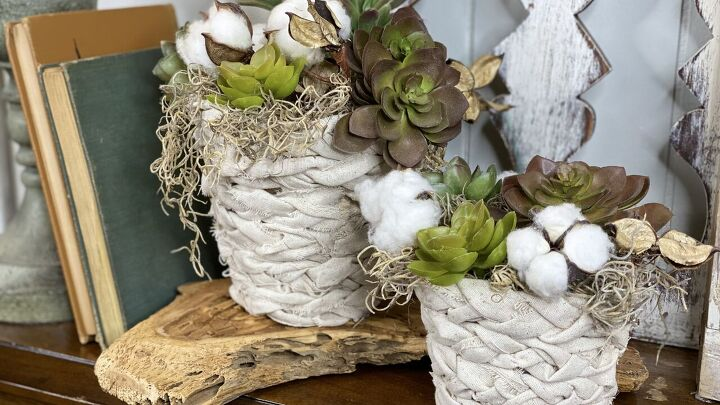 s wrap a dollar store pot in saran wrap for this genius decorating idea, Braided Fabric Pot