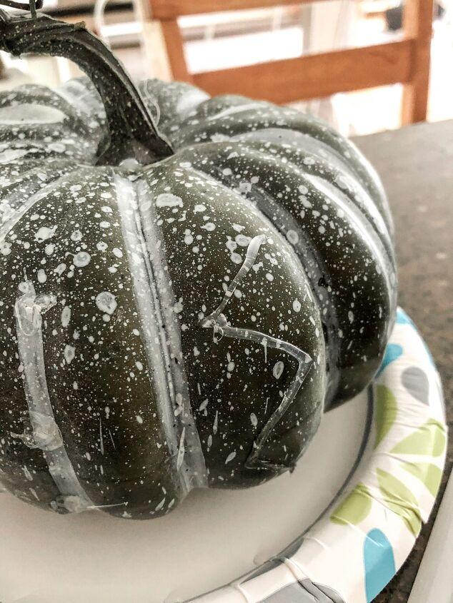 diy hot glue painted pumpkin