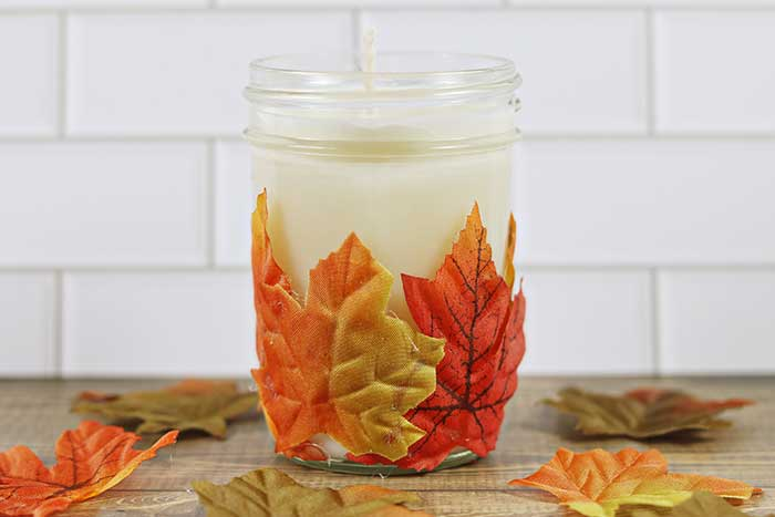 fall leaf candle holder and fall candle tutorial