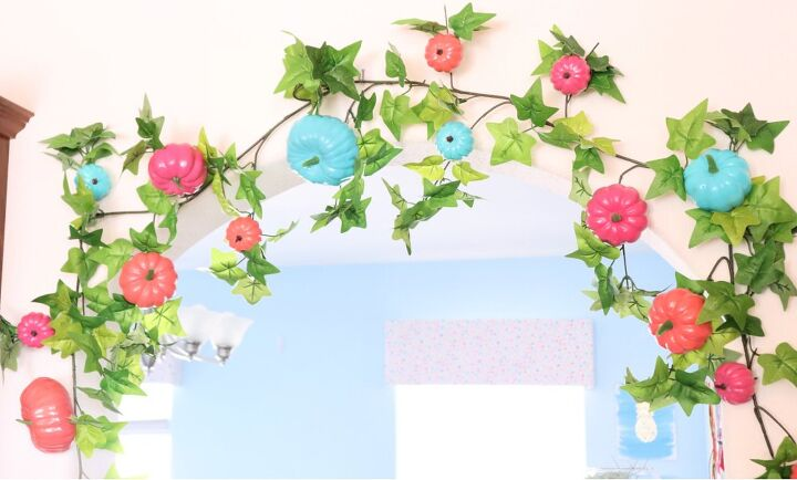 s 15 gorgeous ways to switch up your decor this fall, A colorful pumpkin garland