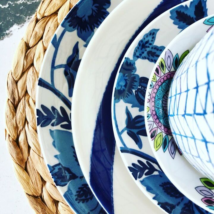 a fall wreath idea in 3 easy steps, The two blue and white floral plates are from the dollar store
