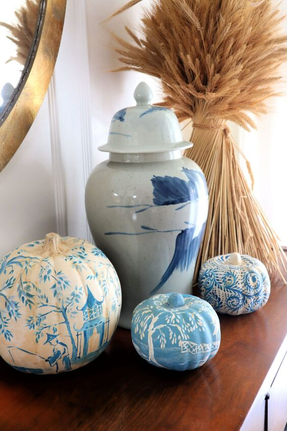 diy hand painted chinoiserie pumpkins from the dollar tree