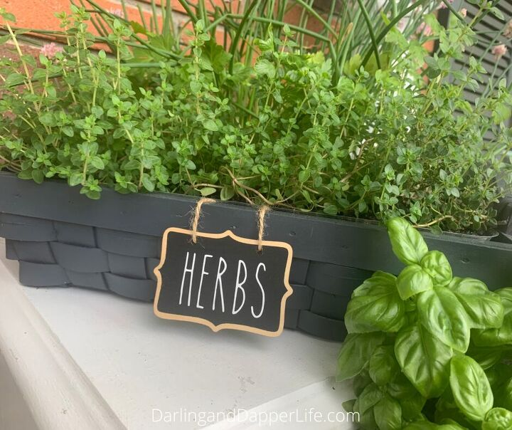 upcycle an old basket into a planter box