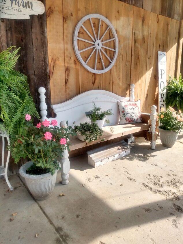 repurposed headboard into bench with barn wood seat