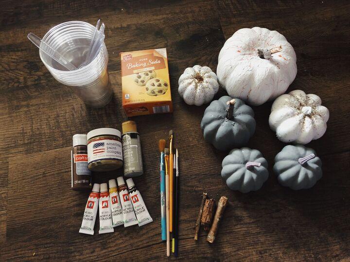 baking soda textured paint pumpkin make over