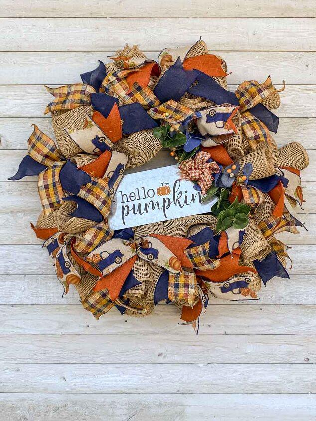 how to make a charming mesh pumpkin wreath for fall