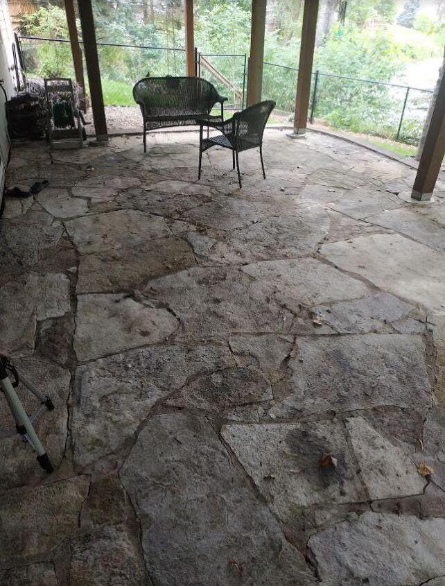 q how do i fix a cracked stone patio