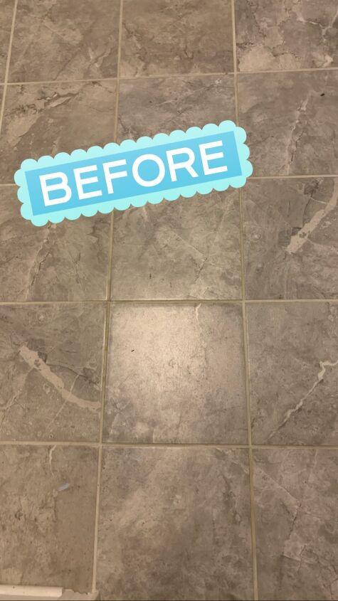 laundry room stenciled floor tile