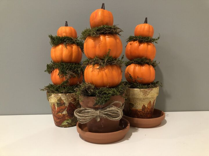 s 15 clever ways to fake high end fall decor with dollar store finds, These mini pumpkin topiaries