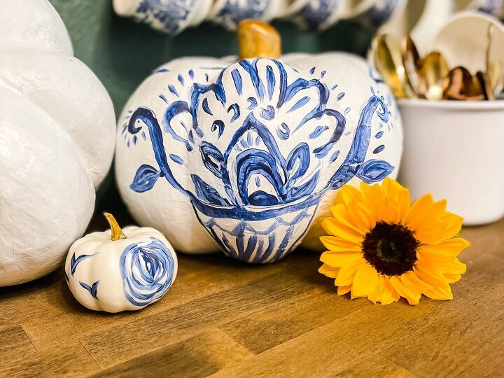 blue and white painted pumpkins