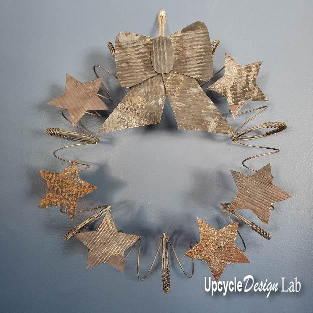 diy recycled metal christmas wreath tutorial