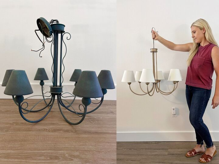 spray painted chandelier makeover