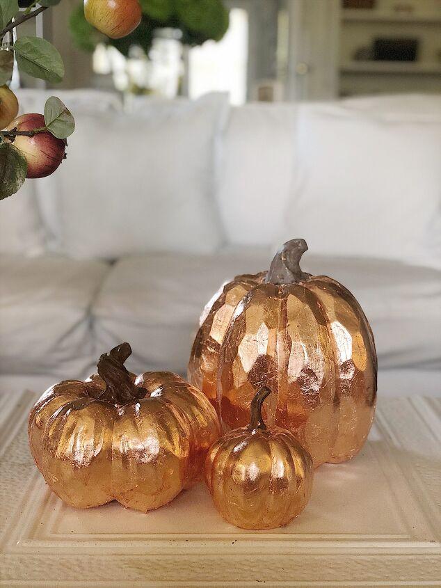 pumpkin crafts how to make copper leaf pumpkins