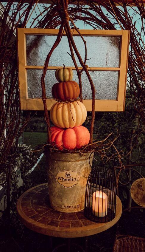 caged pumpkin stack